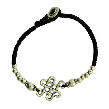 Celtic Infinity Knot Design Silver Alloy Bracelet Wrist Jewelry Waxed Linen Wristband