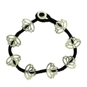 Lotus Flower Design Beaded Silver Alloy Bracelet Wrist Jewelry Waxed Linen Wristband
