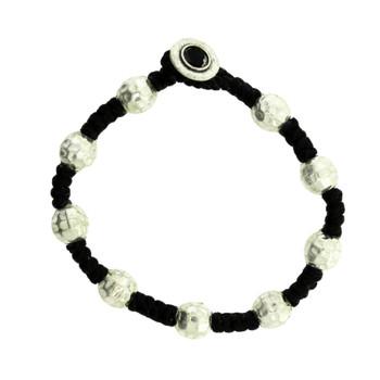 Hammered Ball Design Beaded Silver Alloy Bracelet Wrist Jewelry Waxed Linen Wristband