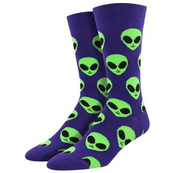 Men's Crew Socks We Come In Peace Alien Martians Purple