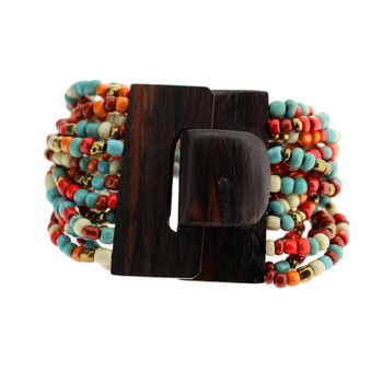 Orange Turquoise Rust Cream Bronze Bali Bracelet Glass Beads Wood Buckle Elastic