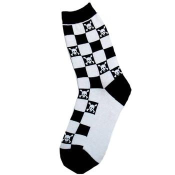 Women's Black White Checkered Skull Crossbone Socks Novelty Footwear Biker Rock