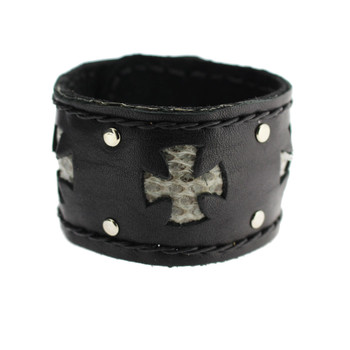 Black Cuff Genuine Leather Bracelet with Snakeskin Iron Cross Detail