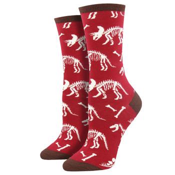 Can You Dig It Dinosaur Bones Women's Crew Socks