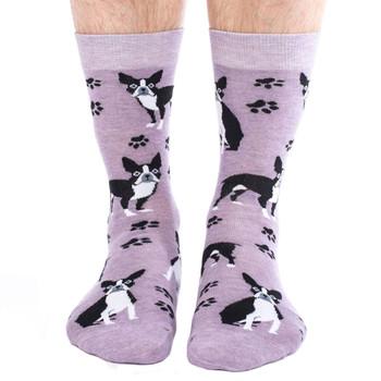 Men's Crew Socks Boston Terrier Puppy Dog Heather Purple