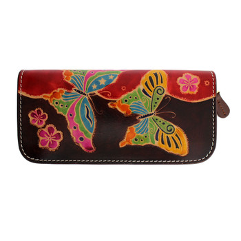 Handmade Butterfly Leather Zip Around Wallet