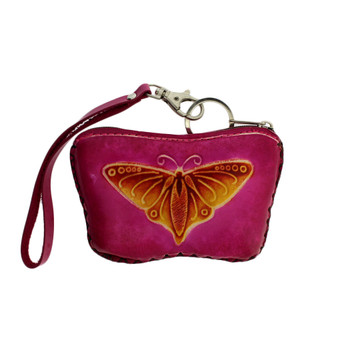 Pink Leather and Colorful Butterfly Coin Purse with Strap