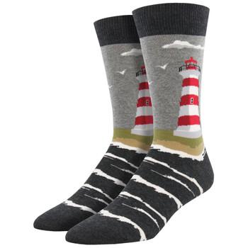 Men's Crew Socks Lighthouse Nautical Theme Grey