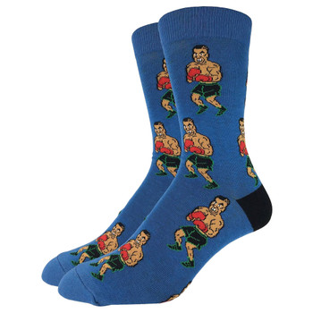 Men's Crew Socks Tyson Punch Out Boxing Blue