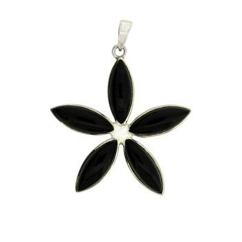 Black Onyx Flower Design Sterling Silver Pendant