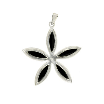 Black Onyx Flower Design Sterling Silver Pendant