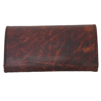 Women's Brown Leather Wallet Checkbook Style with Embossed Cross Fleur de Lis