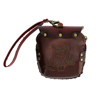 Brown Leather Owl Wristlet or  Coin Purse with Strap
