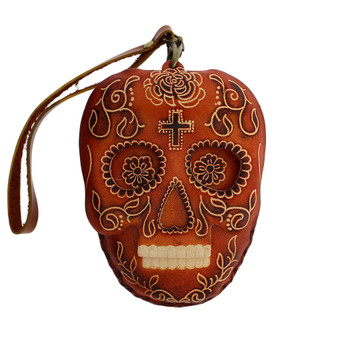 Brown Leather Day of the Dead Skull Wristlet or  Coin Purse with Strap