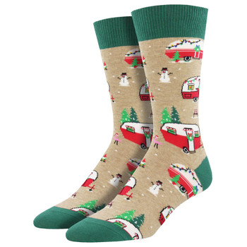 Men's Crew Socks Holiday Christmas Campers Travel Trailers Hemp Tan