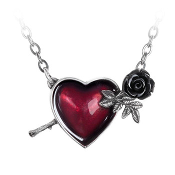 Alchemy Gothic Wounded by Love Heart Pendant Necklace Pewter Jewelry P848