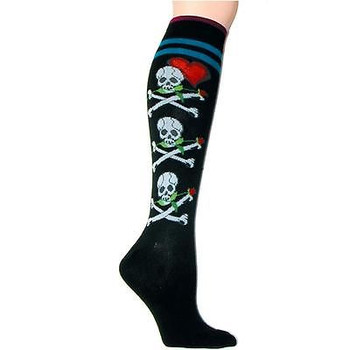 58917ba51 Black Knee High Socks Skull Crossbones Roses   Hearts Footwear by Foot  Traffic