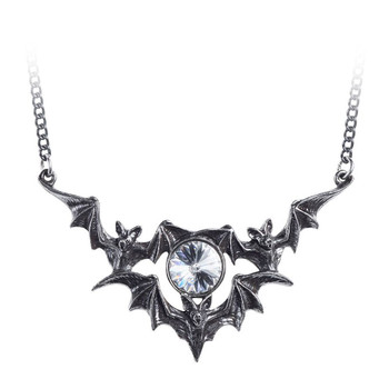 Alchemy Gothic Phantom Bat Pendant Necklace Pewter Jewelry P852