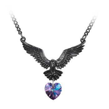 Alchemy Gothic Hamingja Raven Pendant Necklace Pewter Jewelry P857