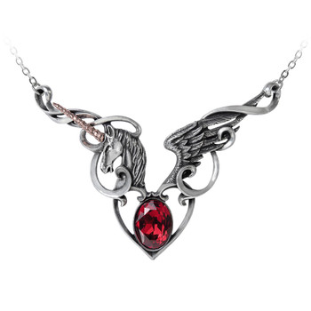 Alchemy Gothic The Maiden's Conquest Unicorn Horse Pendant Necklace Pewter Jewelry P836