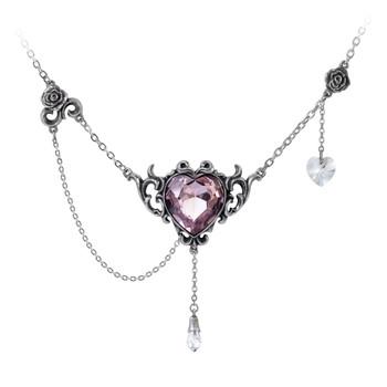 Alchemy Gothic Countess Kamila Purple Heart Pendant Necklace Pewter Jewelry P825