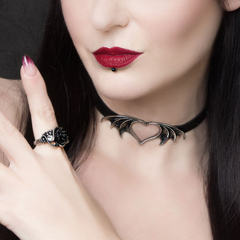 Alchemy Gothic Nocte Amor Choker Heart Shaped Bat Wings Pendant Necklace Pewter Jewelry P823
