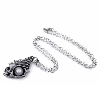 Alchemy Gothic Skull Conch Shell Pendant Necklace Pewter Jewelry P861