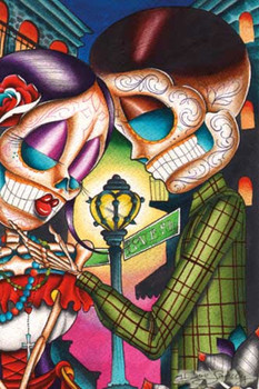 Love Street by Dave Sanchez Tattoo Art Print Day of the Dead Sugar Skull