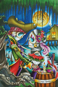 Pirates by Dave Sanchez Tattoo Art Print Day of the Dead Sugar Skull
