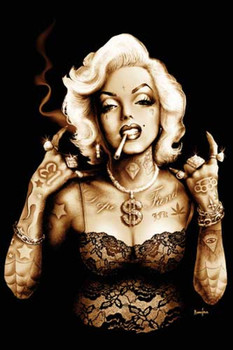 Gangsta Marilyn Monroe by Marcus Jones Tattoo Art Print Hollywood Icon