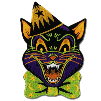 Crazy Cat Patch Embroidered Iron On Applique Halloween Feline