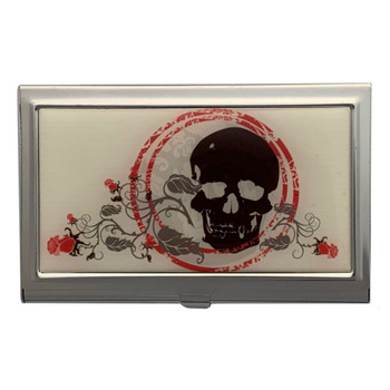Skull and Roses ID Case Business Card Holder Metal Wallet