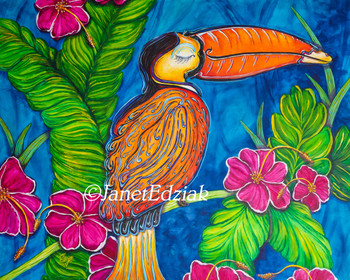 Toucan Jan by Janet Edziak Canvas Giclee Art Print Tropical Bird