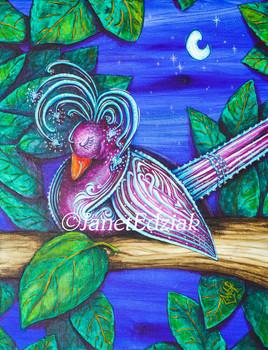 Night Love Bird by Janet Edziak Canvas Giclee Art Print