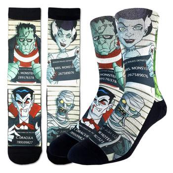 Men's Crew Socks Halloween Monster Mugshots Frankenstein