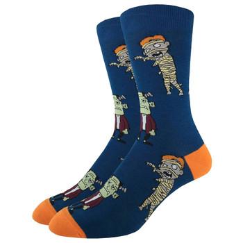 Men's Crew Socks Halloween Monsters Frankenstein and The Mummy
