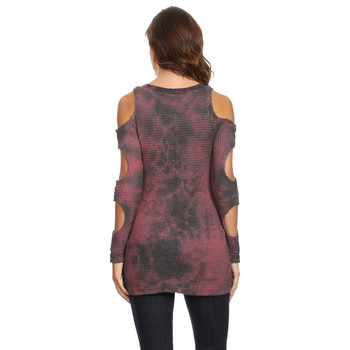 TParty Women's Plum Tie Dye Triple Cold Shoulder Long Sleeve Top