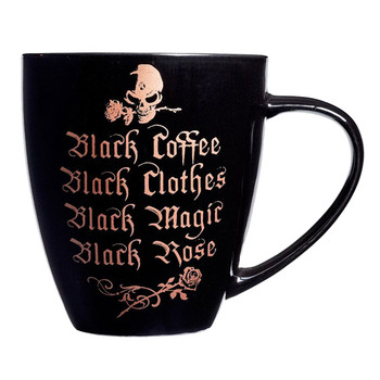 Alchemy Gothic Black Coffee, Clothes, Skull and Roses Mug Drinking Cup