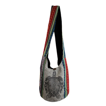 Black Turtle on Gray Sling Bag with Tribal Striped Bohemian Design