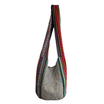Black Butterfly on Gray Sling Bag with Tribal Striped Bohemian Design