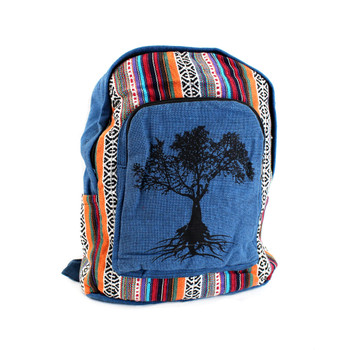 Blue Cotton Tree of Life Backpack with Tribal Woven Design