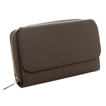 Women's Continental Wallet Dark Silver Grey Clutch Zip Around Pocketbook
