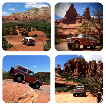 1977 Ford Early Bronco in Sedona Arizona 4 Piece Coaster Set