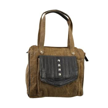 Women's Brown Khaki Cotton Shoulder Bag Purse Recycled Canvas