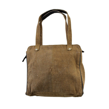 Women's Brown Khaki Cotton Shoulder Bag Purse Recycled Canvas