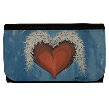 Women's Wallet Black Poly Canvas Heart and Wings Tattoo Art