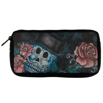 Skull and Roses Neoprene Pencil Case Cosmetic Bag Pouch
