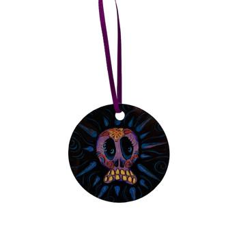 Day of the Dead Purple Sugar Skull Metal Ornament