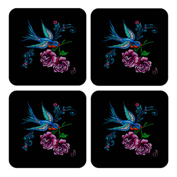 Swallow and Roses Tattoo Art 4 Piece Coaster Set