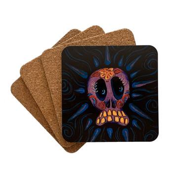 Day of the Dead Purple Sugar Skull Tattoo Art 4 Piece Coaster Set